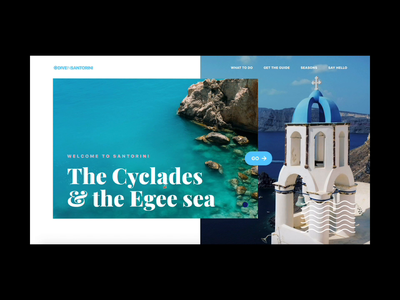 Santorini Hero Scene Animation branding typography app design web motion parallax video ux ui website webdesign landing page interaction animation