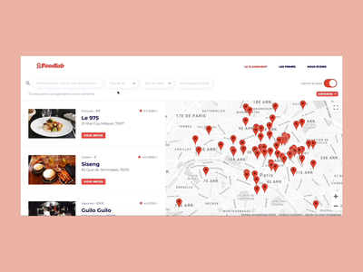 Foodlab - Listing Page with Map listing restaurant map food website webdesign web video ux ui parallax motion interaction design branding app animation