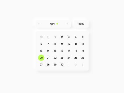 Date Picker Neumorphism year 2020 month day datepicker picker calendar date neomorphism neumorphism typography ux ui interface minimal design
