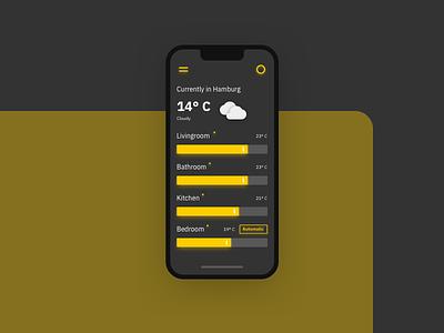 Smart Home Mobile App UI – Dark Mode slider mode dark ux typography illustration design app ui settings minimal interface interaction flat