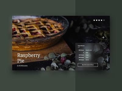 Recipe UI #2 minimal cooking recipe pie photograhy ux typography ui interface design