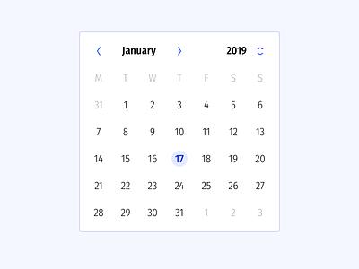 Date Picker calendar light app ux typography interaction flat ui interface minimal design