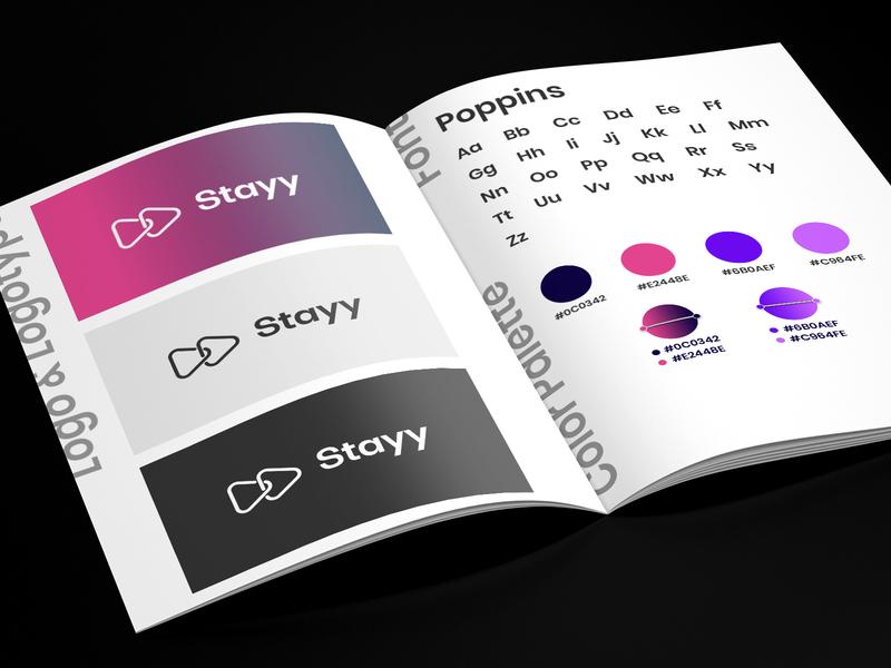 Stayy - Brand Identity simple gradient font palette colors logo brandbook