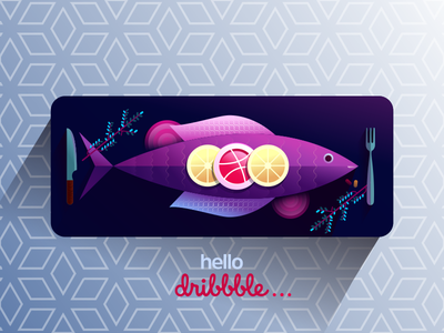 First Dribbbler's dinner! illustration invitation thank you hello sea food dribbble slice food fish first shot debut