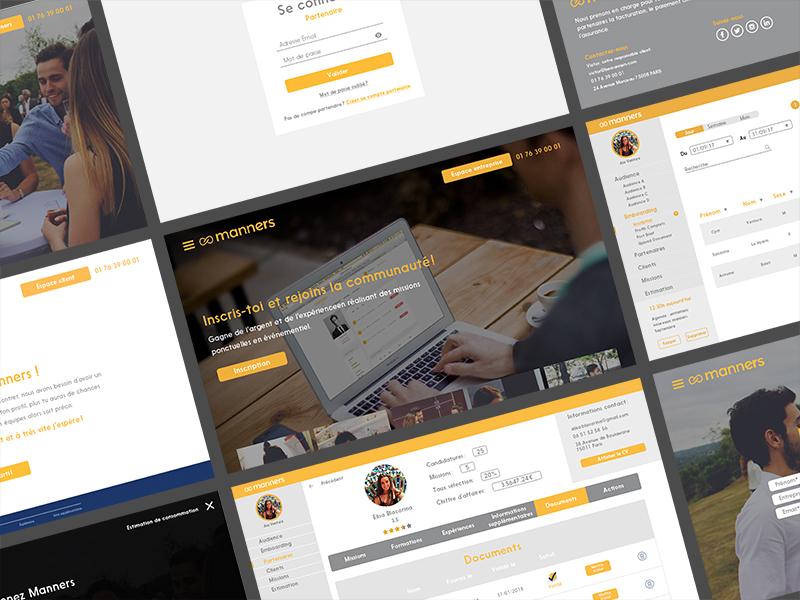 Manners digital dashboard back office one page full screen logo orange landing page photoshop ux ui webdesign