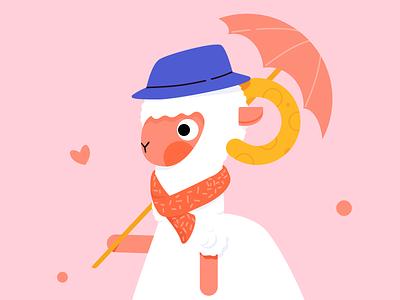 little lamb girl logo illustration