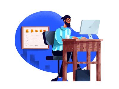 IT illustrations illustration procreate visual identity texture minimal art character design dashboard office work client tech developer