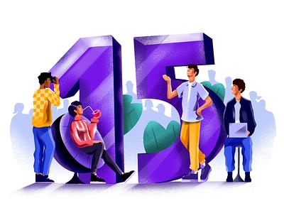15K Followers purple visual identity procreate colorful fun 15k texture minimal art character design motion animation illustration