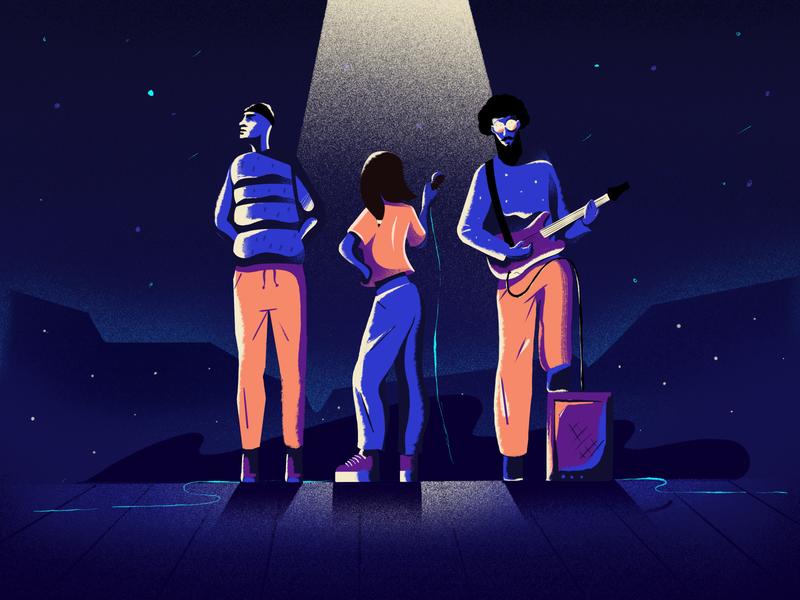 Trio concert rock solo guitar funky character design visual identity web contrast minimal art procreate texture illustration band music
