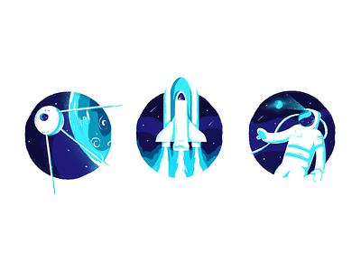 Odyssey character design minimal art branding visual identity batch badge icon launch rocket sputnik astronaut space texture illustration