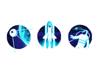 Odyssey character design minimal art branding visual identity batch badge icon launch rocket sputnik astronaut space texture illustration