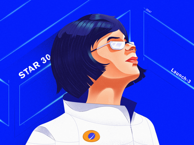 Ready for Launch portrait neon blue vector procreate poster anatomy texture star apollo sketch character illustration launch astronaut