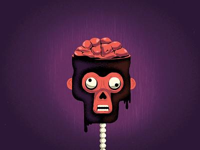 Monkeyween spooky motion graphics halloween dark brain bird crow texture illustration monkey animation