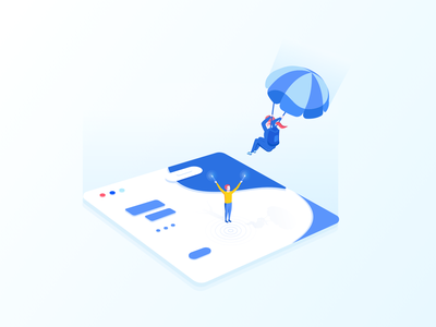 Teamwork & Collaboration Illustrations vector sketch illustrator work environment mobile tablet illustrations user experience user interface ui visual identity flat gradient icon minimal clean design landing page parachute landing illustration pack character design bright color combinations blue yellow white colors