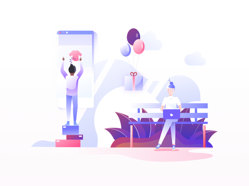 E-Commerce Illustrations user experience ux purple blue red colors illustration pack e-commerce shopping shop minimal clean design vector sketch illustrator user interface ui mobile tablet illustrations brandbook mark visual identity illustration flat gradient icon minimal art character design bright color combinations