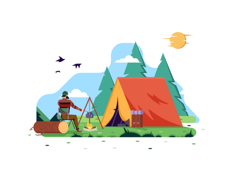 A camp in the forest environmental graphics traveling camping landscape enviroment blue yellow white colors minimal clean design user interface ui design exploration visual identity illustration character design minimal art bright color combinations