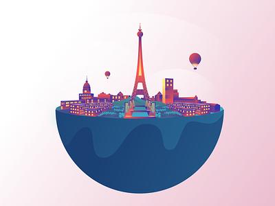 Floating Paris flat gradient icon vector globe floating gradient ballon perspective eiffel tower paris city minimal clean design visual identity design exploration minimal art illustration
