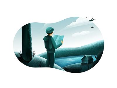 Adventurer green tourist nauture procreate art adventure texture character design minimal art illustration