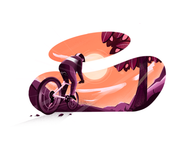 Sunset cycling extreme sports drive lifestyle colorful visual identity minimal clean design perspective cyclist bicycle nature mountains sun sunset texture procreate art procreate art minimal art illustration