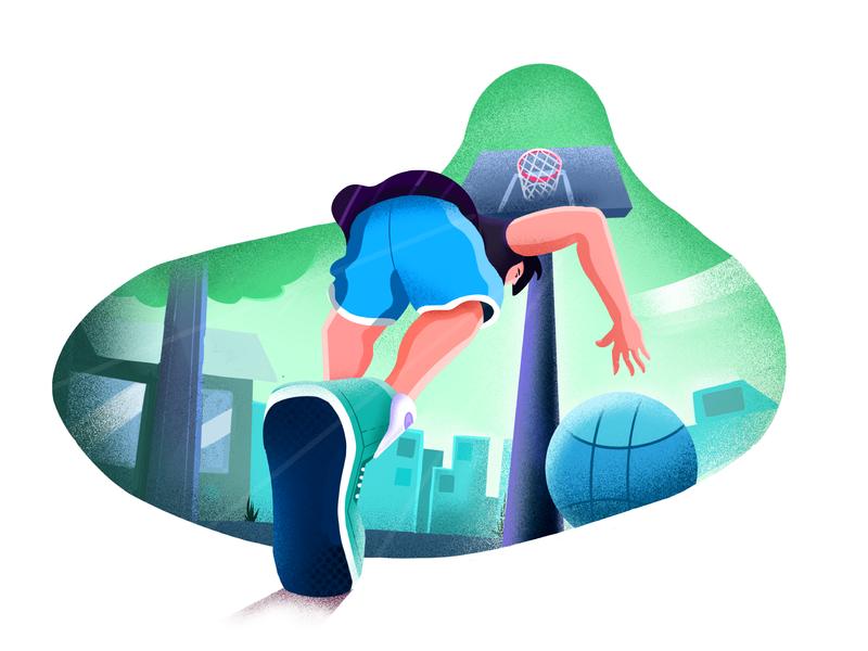 Player character design procreate art visual identity minimal clean design perspective environment ball sports texture minimal art illustration basketball