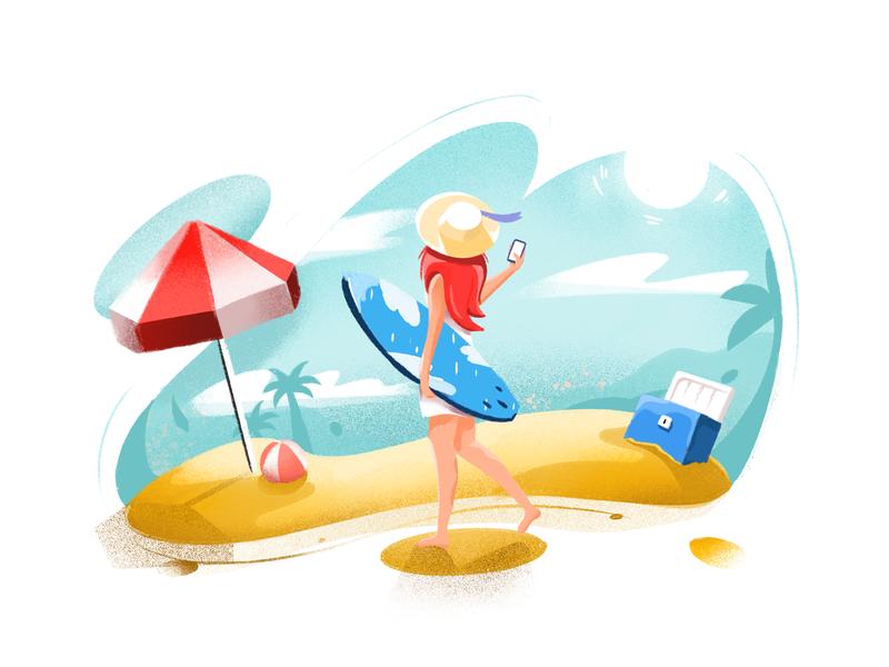Beach art beach party web bright color combinations selfie girl drawn handmade summer holiday travel vacation beach character design minimal art illustration
