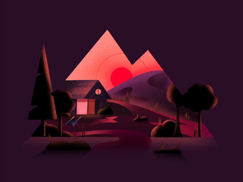 Cozy place flair cozy abstract texture sunset nighttime house landscape minimal clean design minimal art illustration