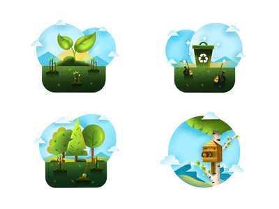EverGreen illustrations green icon forest trash bird box tree planting reforestation recycling nature texture procreate bright color combinations visual identity minimal clean design minimal art illustration
