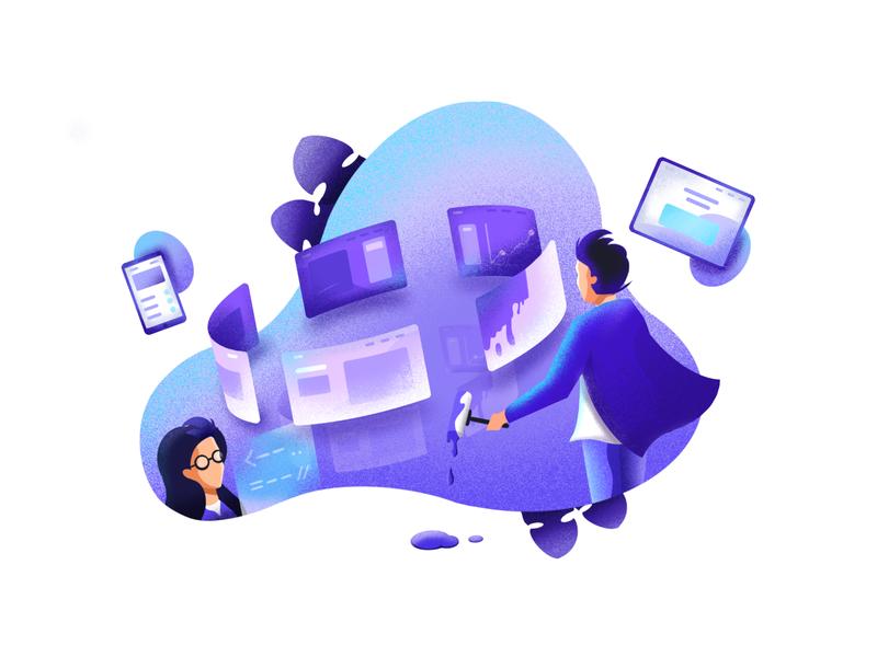 Design process illustration paint tablet mobile purple gradient purple procreate process developer web texture bright color combinations character design visual identity minimal clean design minimal art illustration