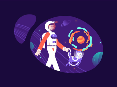 Space Walk explainer vector character design animation 2d color fun planet space dog walk cycle motion motiongraphics animation minimal art illustration
