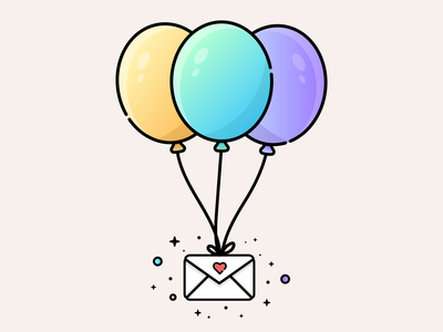 Balloon Delivery poetic love letter balloons delivery letter mail email illustration flat design vector