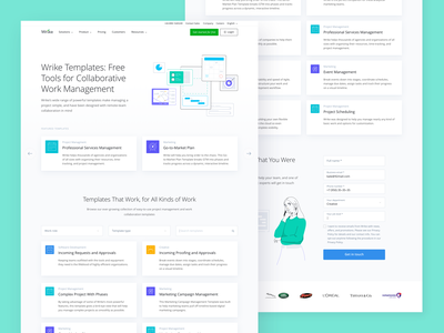 Wrike Templates Gallery web design landing page illustration tool collaborate template wrike website