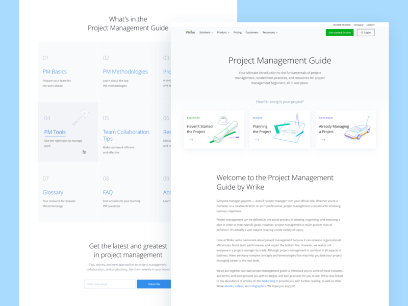 Wrike Project Management Guide guide project management web website wrike tool collaborate landing page ux branding typography illustration blue ui design clean
