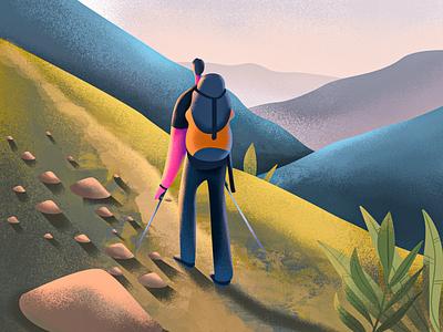 Mountain Trail flat  design color uidesign flat design colors ui mountain trail ui illustration uiillustration flat illustration illustration