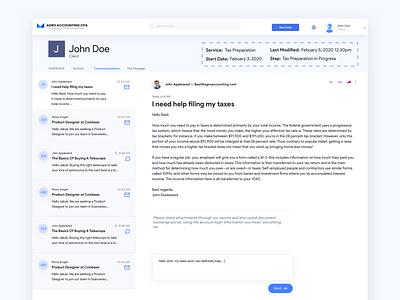 Communication Portal branding illustration blue white design clean ux website design web email messenger accounting sketch