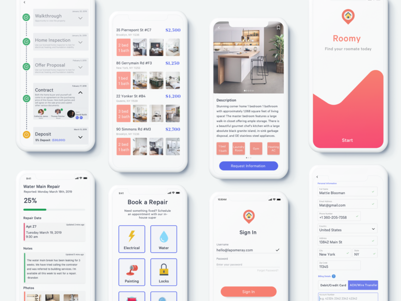 Apartment Search App filter walkthrough repair minimal clean orange house home search condo realty realtor apartment mobile app ux ui design sketch ios