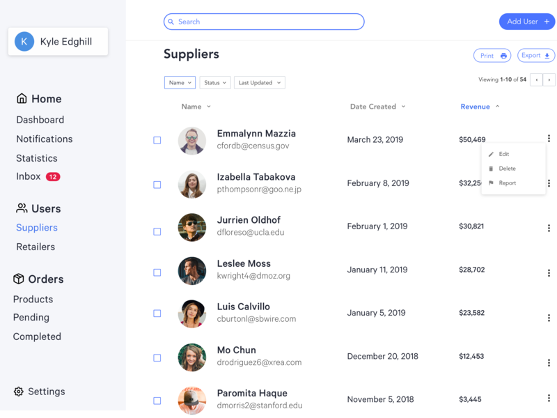 Supplier Dashboard Web | Distribution Company stats inbox orders desktop clean web filter list table export print add home user users cms dashboad ui ux user ui sketch