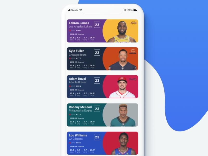 Player Rosters lebron sport app minimal app roster athlete sports sport branding vector list blue illustration clean mobile app ux ui design ios sketch