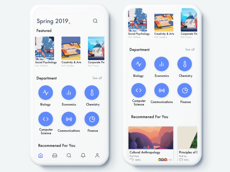 Home | Course Registration minimal sign up campus branding ux ui framerx white blue illustration clean mobile app signup class course university college ios sketch