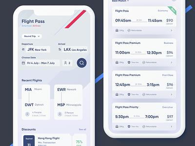 Flight Pass - American Airlines ticket app ticketing tickets light mode dark mode illustration design clean ui ux sketch mobile ios app booking app booking flight search flight app flight booking flight