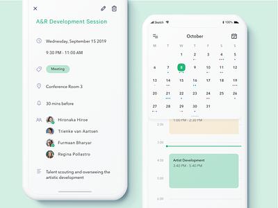 Scheduling App counter time white october meeting calendar 2019 calendar app calendar green mobile app design clean ui ux ios sketch scheduling scheduler schedule