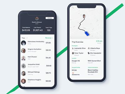 Rideshare - Driver payment app payments app design app mobile driver app design clean ui ux ios sketch dailyui drive list car ridesharing rideshare lyft uber