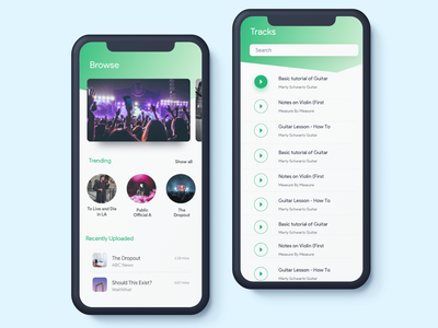 Artists Track browse player play music player animation blue green white mobile app design ui clean ux ios sketch music music app artists artist