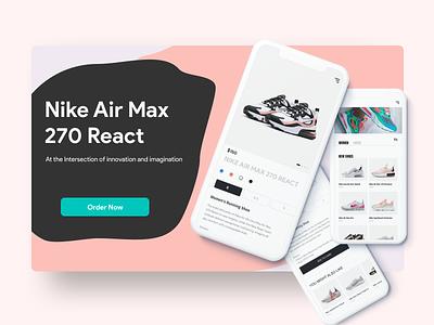 Nike Sneaker Launch shoe mobile ui online store order pink sneaker nike illustration ui app design mobile ios clean ux sketch web app web design web