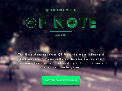 Quarterly Music Of Note music note brandon quarterly beatles abbey road abbey-road green button ui q1 full screen full-screen blur image