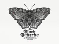 Black Butterfly ... label butterfly gothic brand vector illustration illustration vector art typogaphy typo