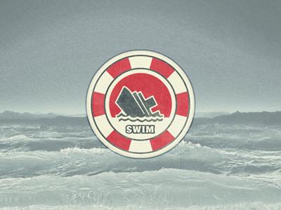 Just Swim ... typography lettering type typo sticker badge retro