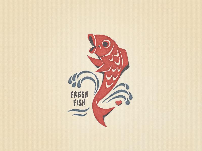 Fresh Fish »Omega 3« Version ... typography typo cartoon vector graphic fish freebie retro illustration