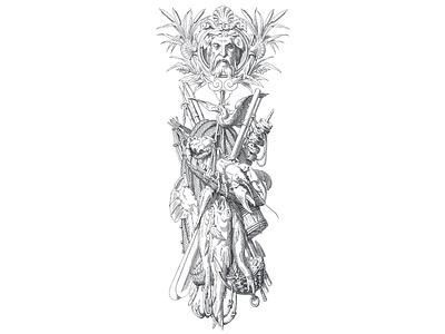 Poseidon's Empire ... line art lineart vector illustration illustration vector graphic vectorart