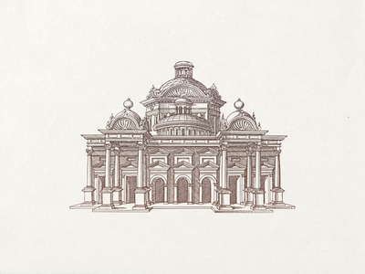 Temple of Venus ... line art building temple vector illustration vector graphic illustration