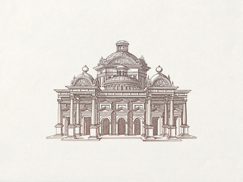 Temple of Venus ... line art building temple vector illustration vector graphic illustration